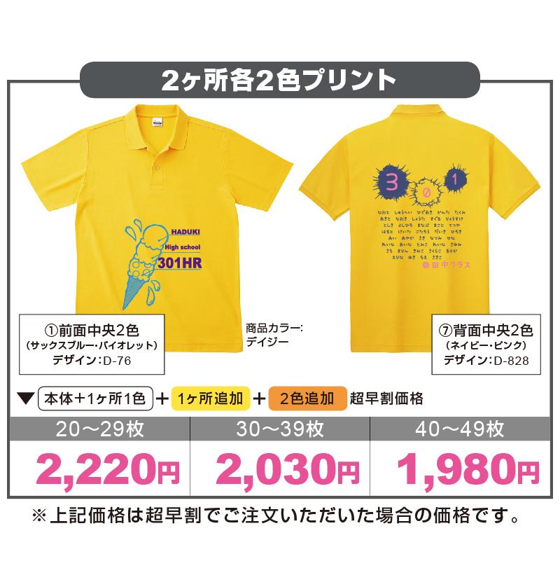 スタンダードポロシャツ 2ヶ所計4色プリント計算例