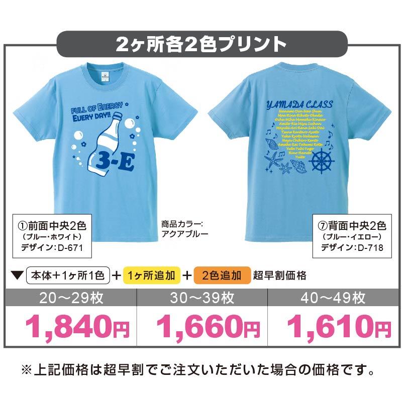 05806 ライトベーシックTシャツ アクアブルー 2ヶ所各2色プリント