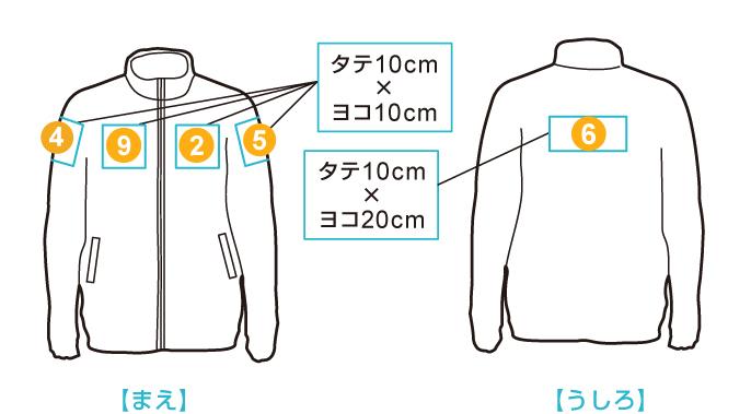 ライトジップジャケット 印刷位置・範囲