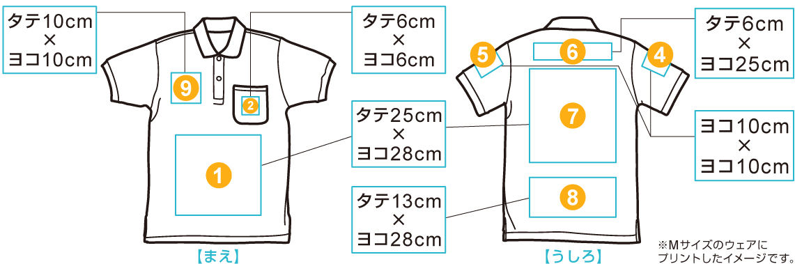 ヘビーウェイトポロシャツ ポケット付 印刷位置・範囲