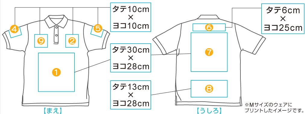 スタンダードポロシャツ 印刷位置・範囲
